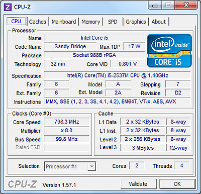 CPU-Z Samsung 900x processor